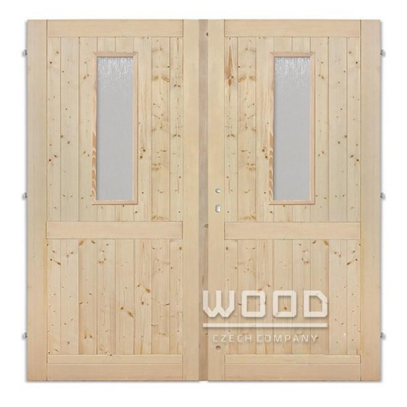 Palubkové dveře dvoukřídlé 145 cm sklo na obou křídlech s příčkou
