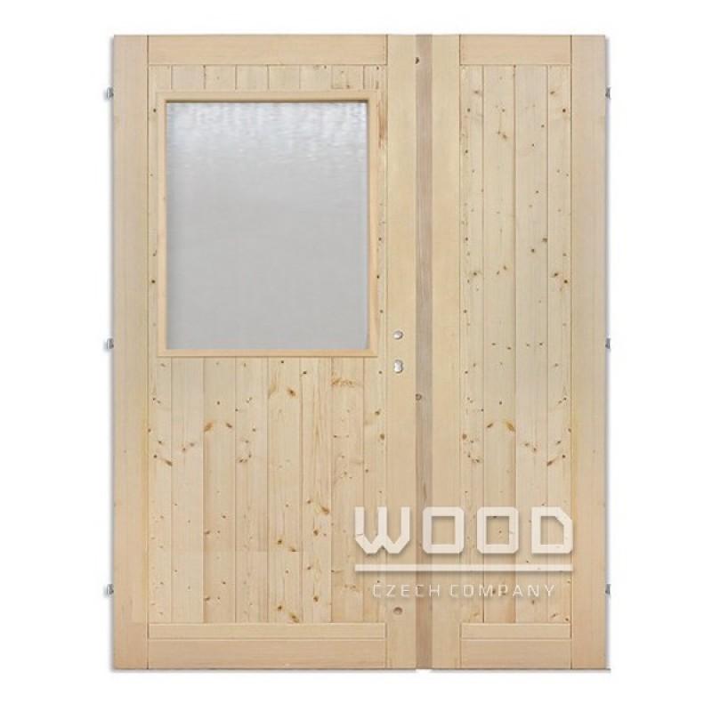 Palubkové dveře dvoukřídlé 125 cm 1/3 sklo