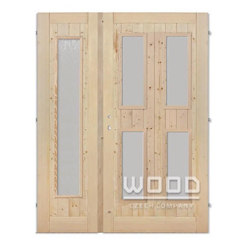 Palubkové dveře dvoukřídlé 160 cm sklo dlouhé C