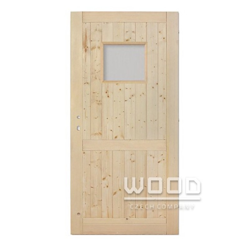 Palubkové dveře s příčkou a sklem 50x40