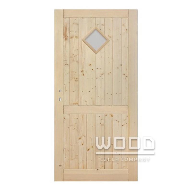 Palubkové dveře s příčkou koso sklo